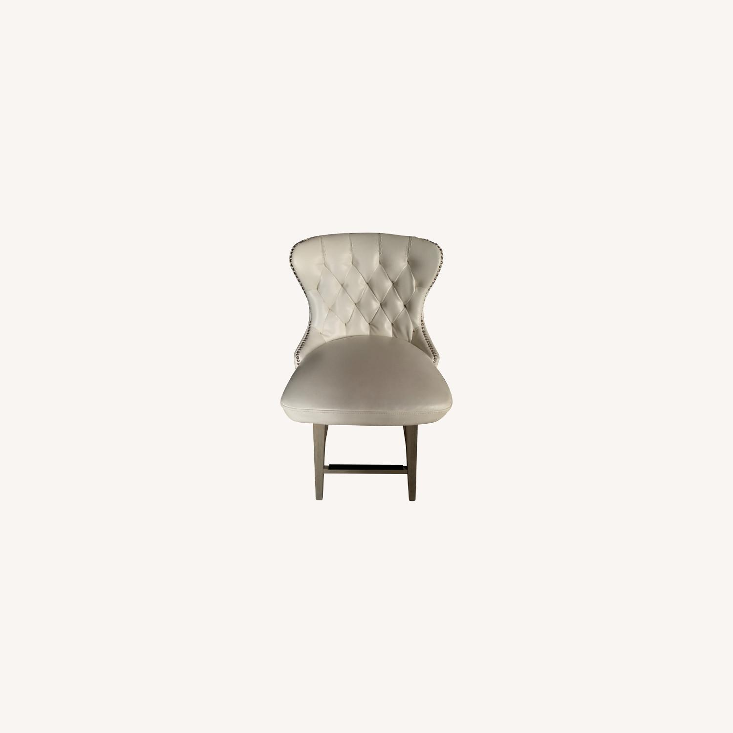 White Faux Leather Tufted Counter Chairs - image-0