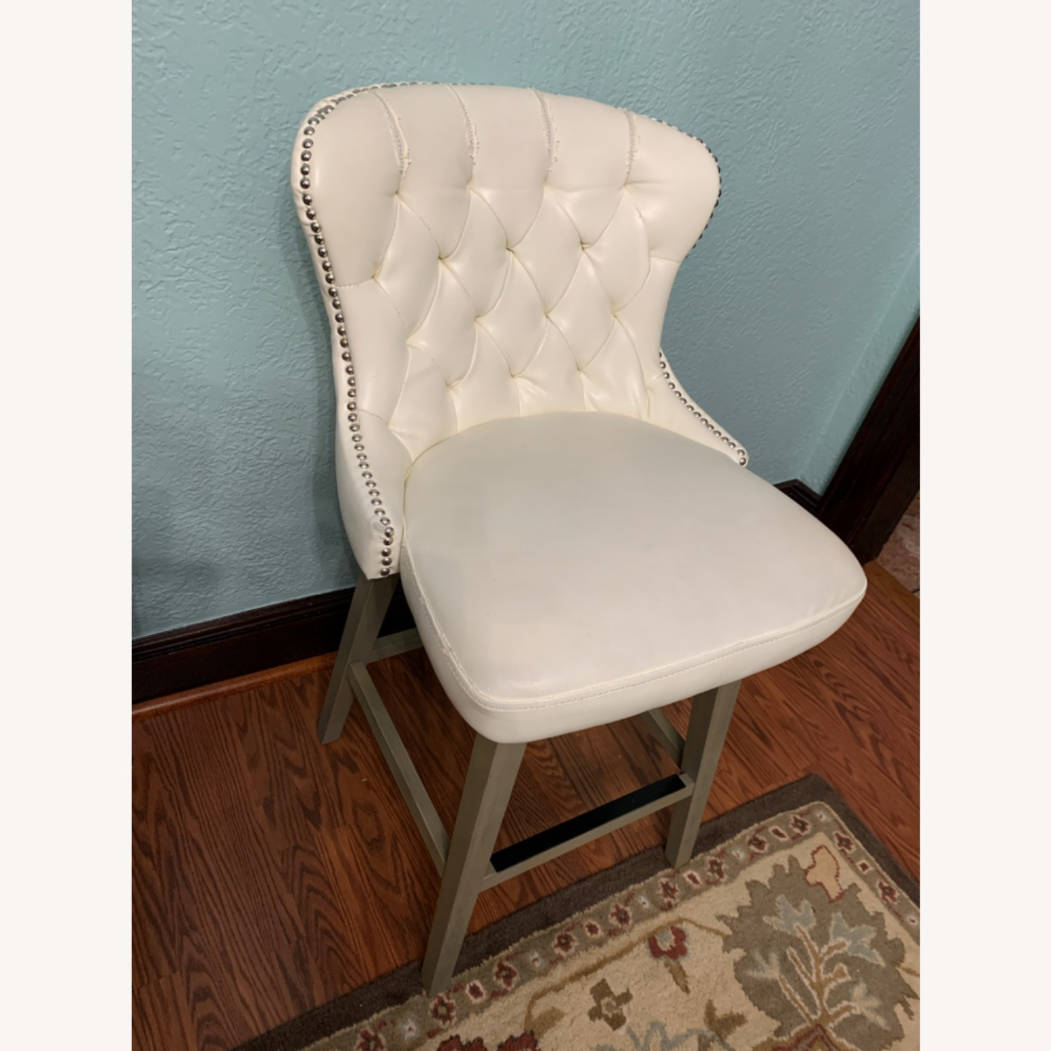 White Faux Leather Tufted Counter Chairs - image-7