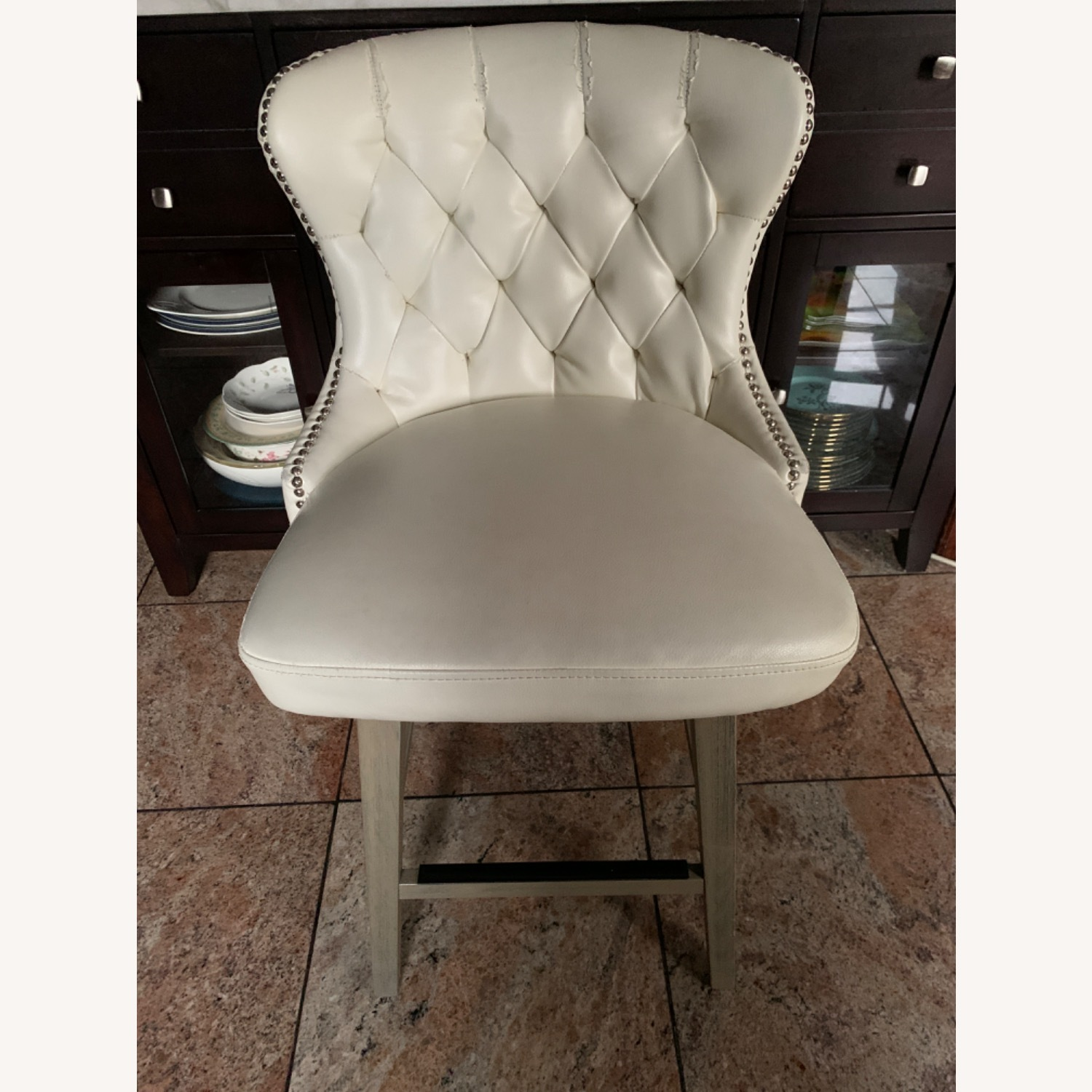 White Faux Leather Tufted Counter Chairs - image-1
