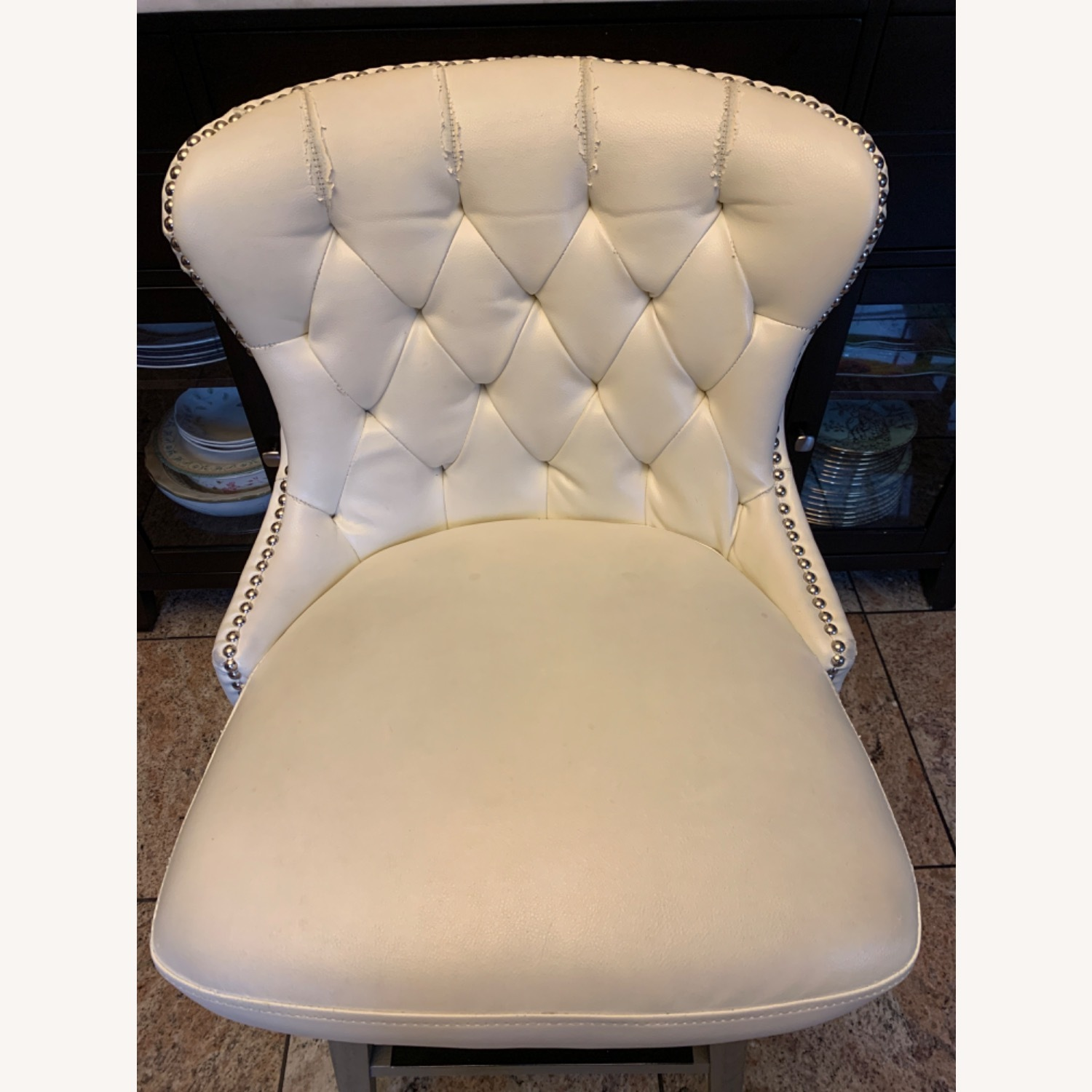 White Faux Leather Tufted Counter Chairs - image-2