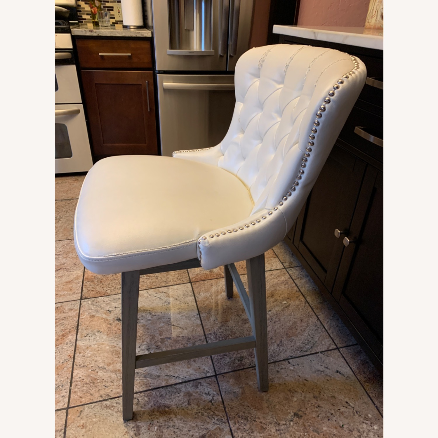White Faux Leather Tufted Counter Chairs - image-3
