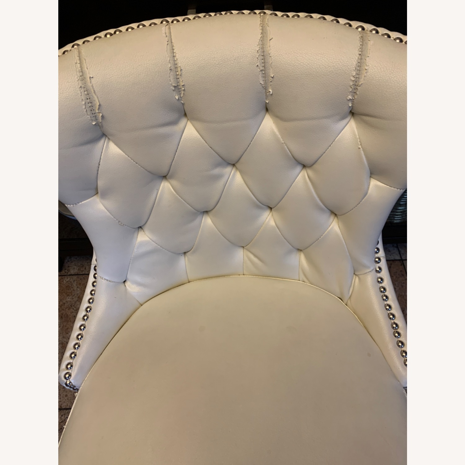 White Faux Leather Tufted Counter Chairs - image-4