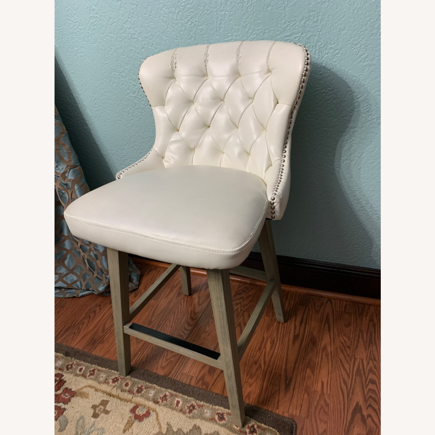 White Faux Leather Tufted Counter Chairs - image-6