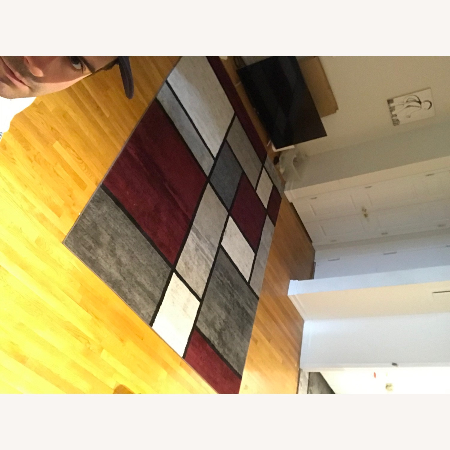 8' x 10' Red White and Grey Area Rug w Rug Pad - image-16