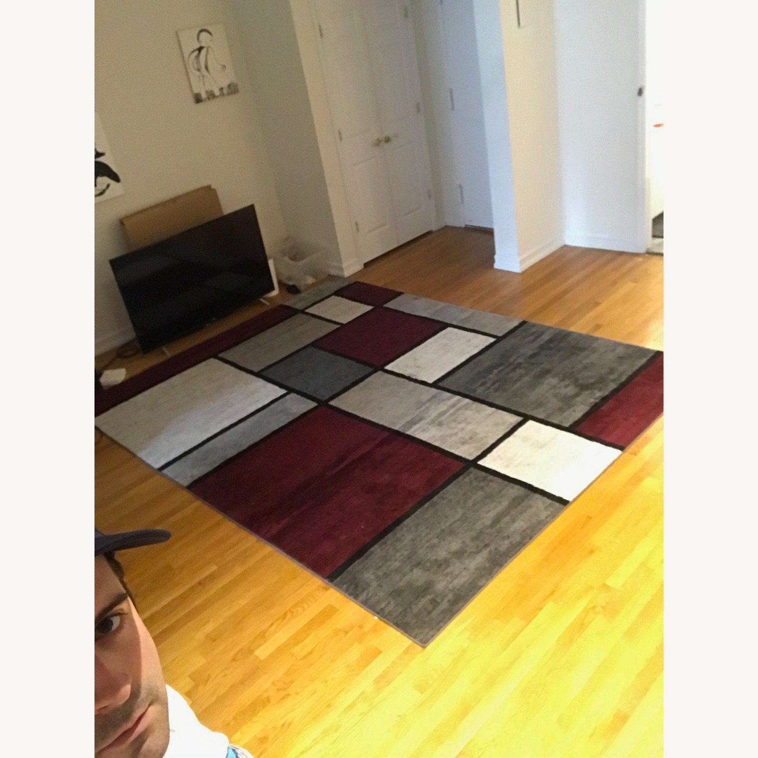 8' x 10' Red White and Grey Area Rug w Rug Pad - image-1