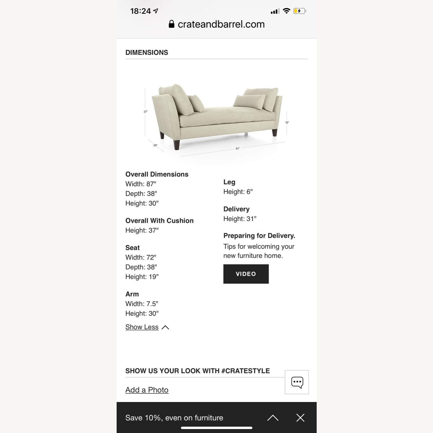 Crate and Barrel Marlowe Daybed - image-3
