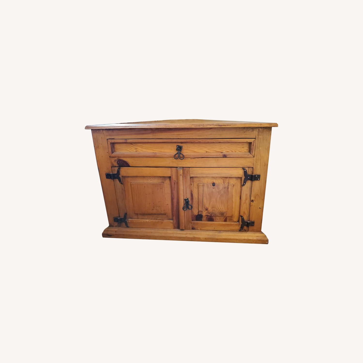 Pier 1 Import Knotty Pine Corner Storage Table - image-0