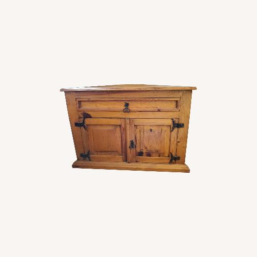 Used Pier 1 Import Knotty Pine Corner Storage Table for sale on AptDeco
