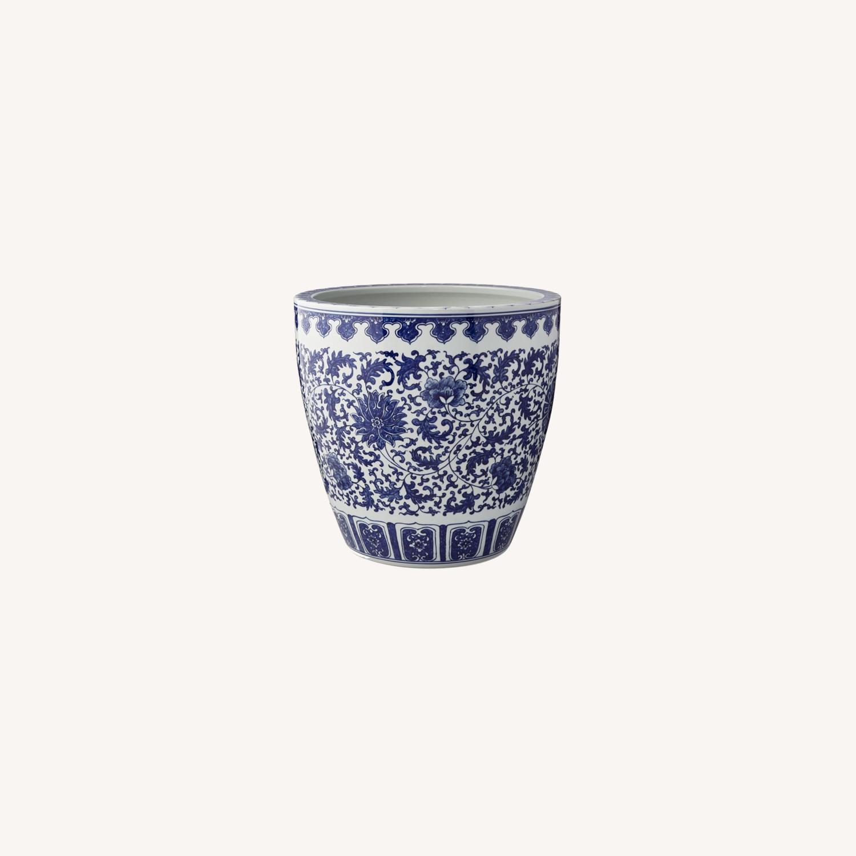 Williams Sonoma Blue & White Ceramic Planter - image-0