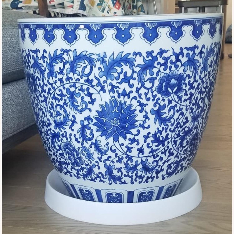 Williams Sonoma Blue & White Ceramic Planter - image-2