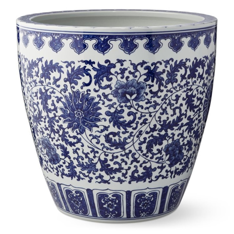 Williams Sonoma Blue & White Ceramic Planter - image-1
