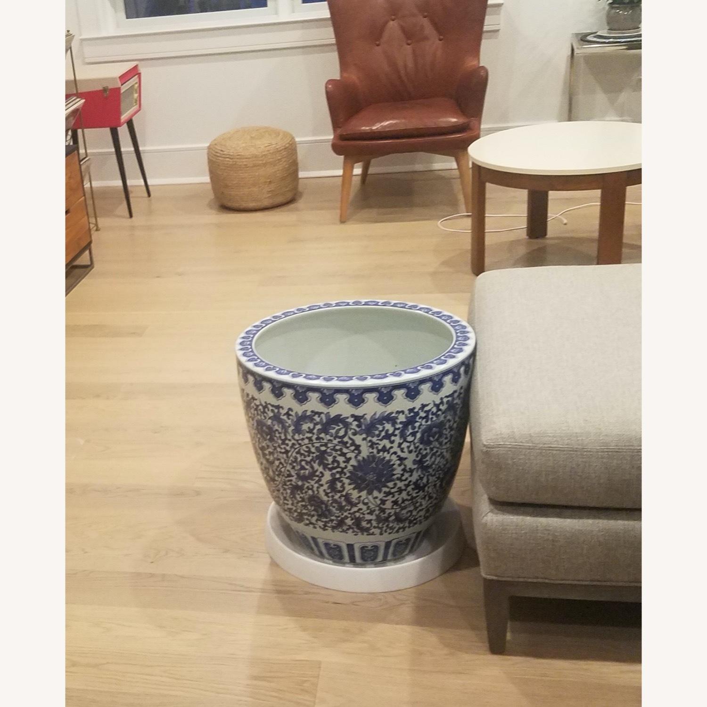 Williams Sonoma Blue & White Ceramic Planter - image-3