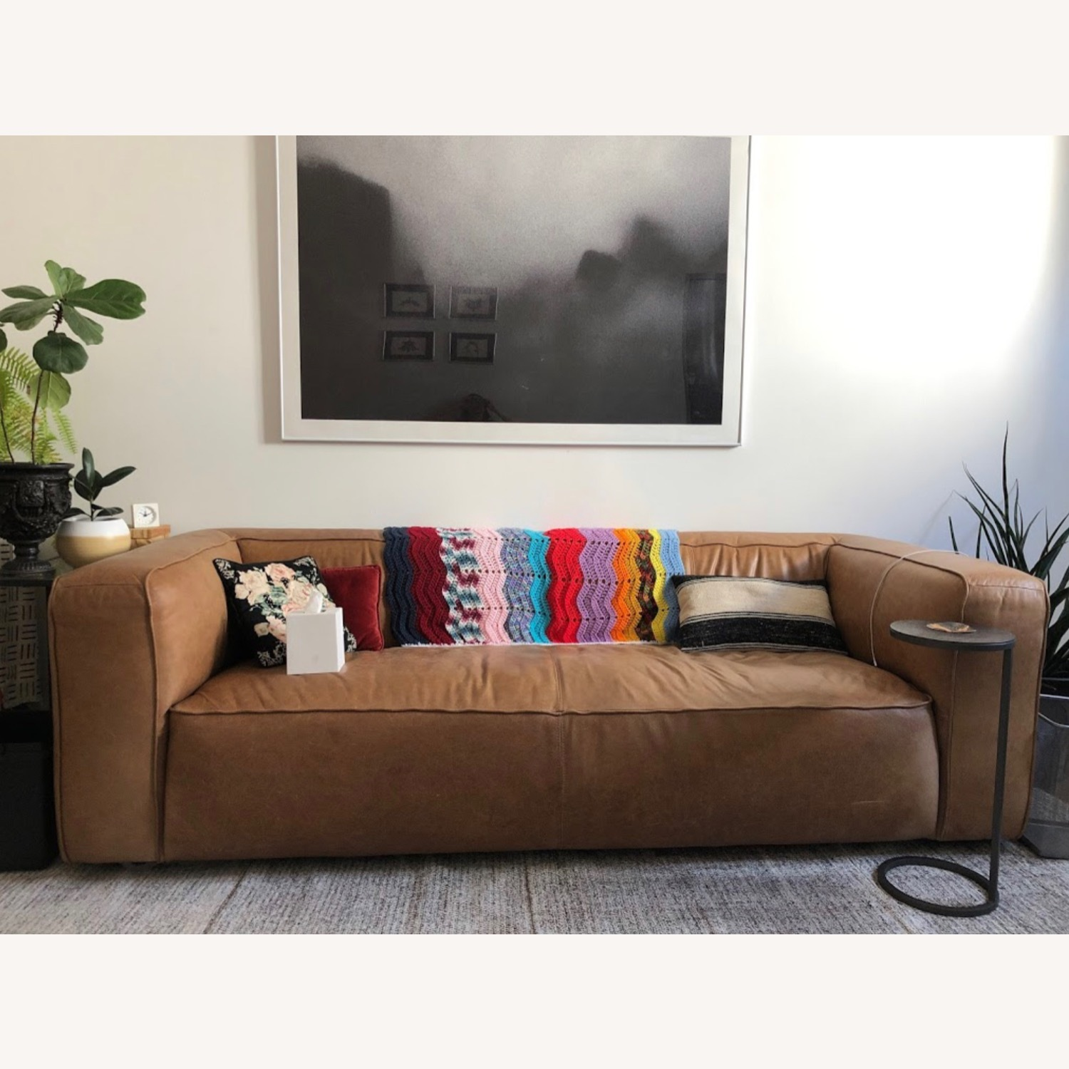 CB2 Leather Lenyx Sofa - image-0