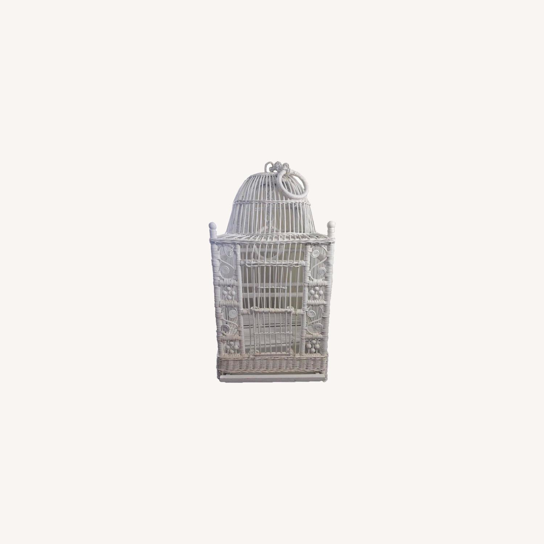 Vintage White Wicker Birdcage - image-0