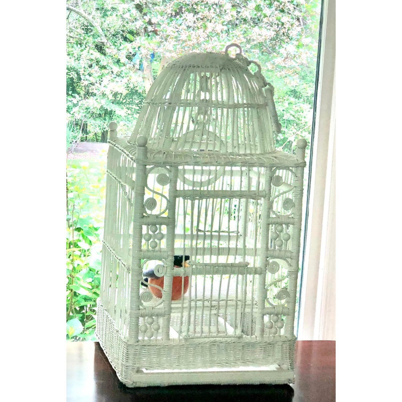 Vintage White Wicker Birdcage - image-7