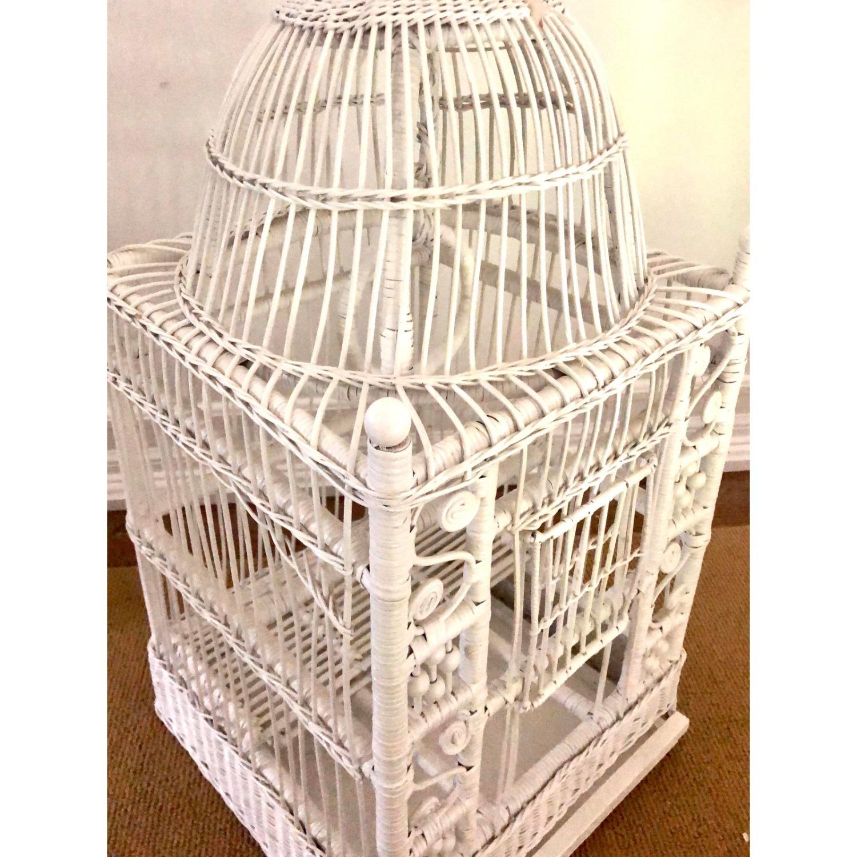 Vintage White Wicker Birdcage - image-5