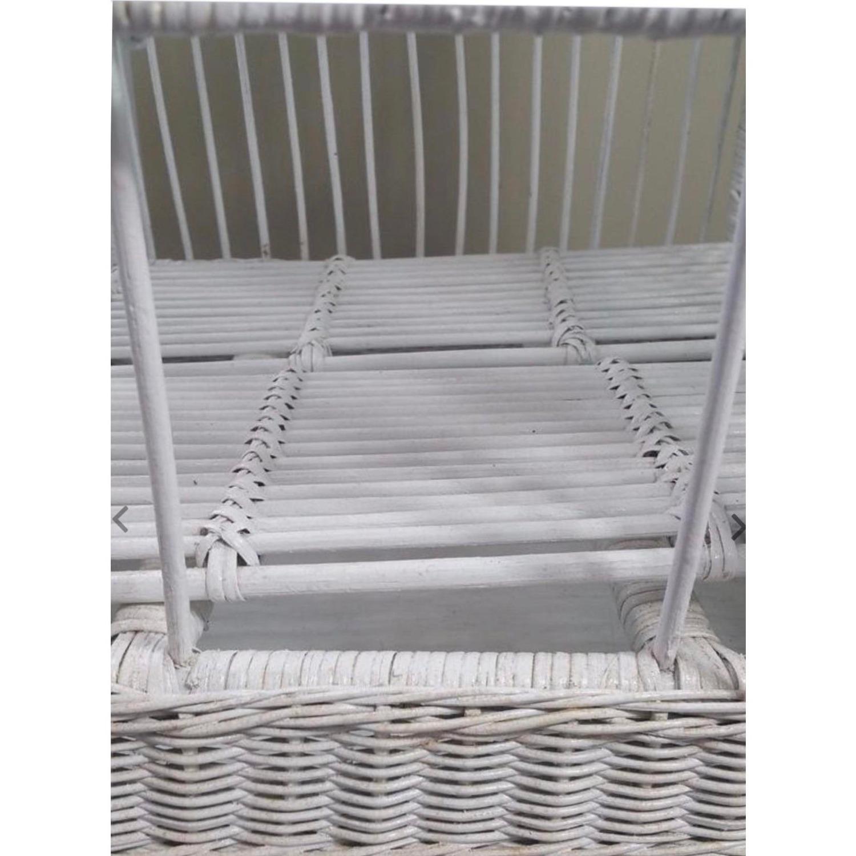 Vintage White Wicker Birdcage - image-4