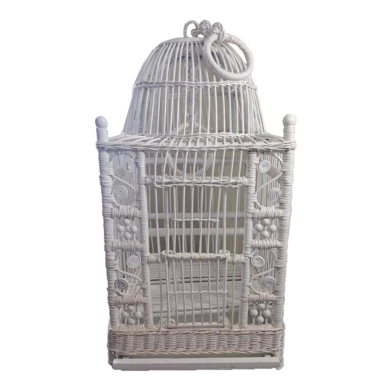 Vintage White Wicker Birdcage - image-1
