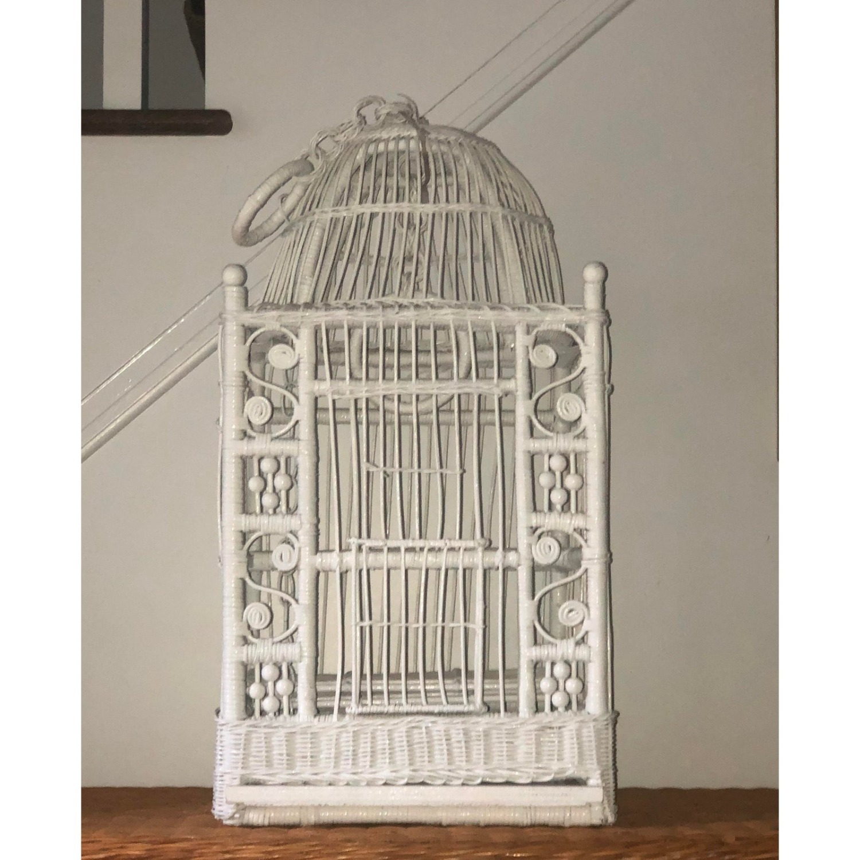 Vintage White Wicker Birdcage - image-3