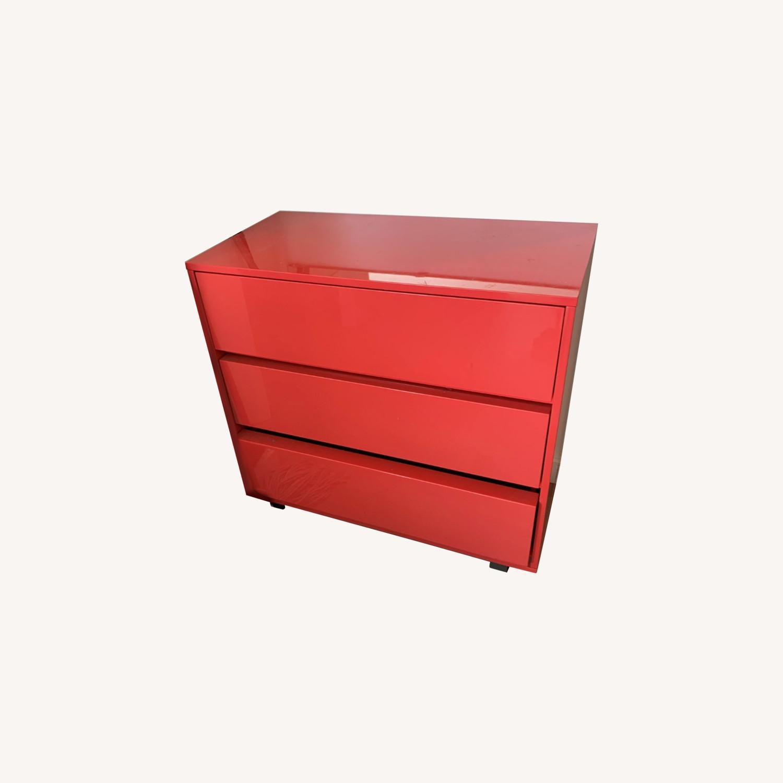 CB2 Fire Engine Red 3-Drawer Dresser - image-0