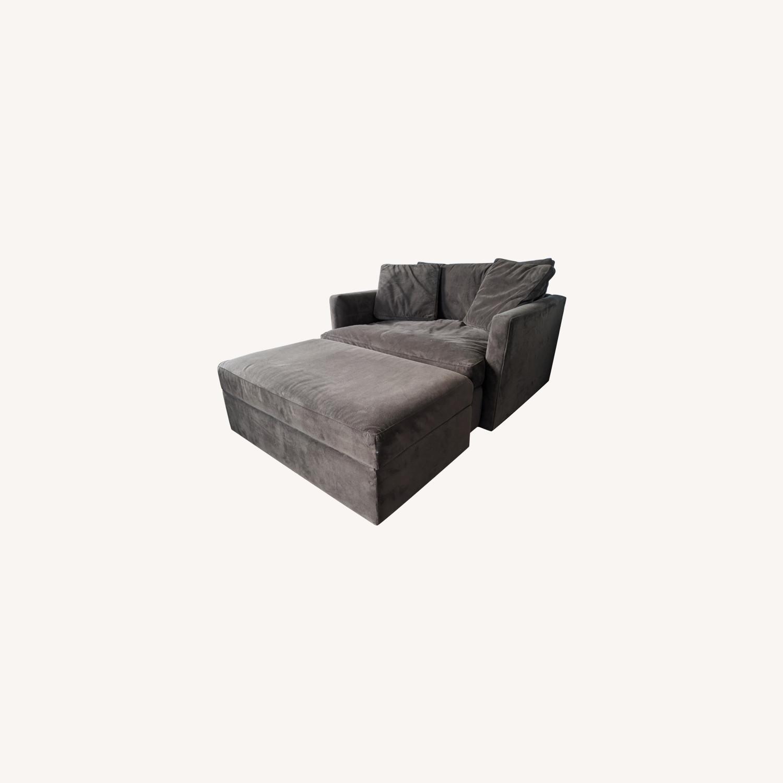 Crate & Barrel Lounge Chair & a Half plus Ottoman - image-0