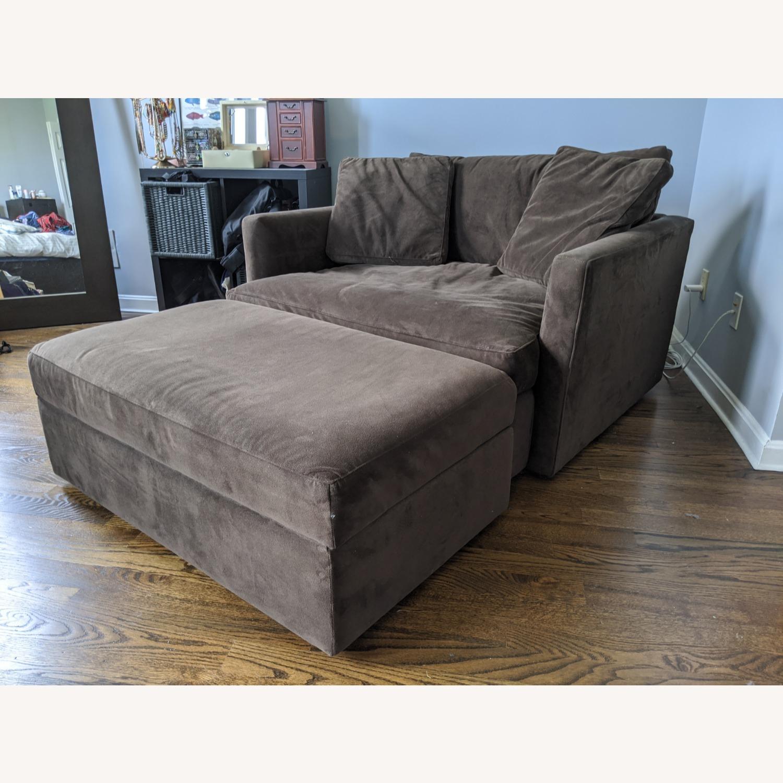 Crate & Barrel Lounge Chair & a Half plus Ottoman - image-3