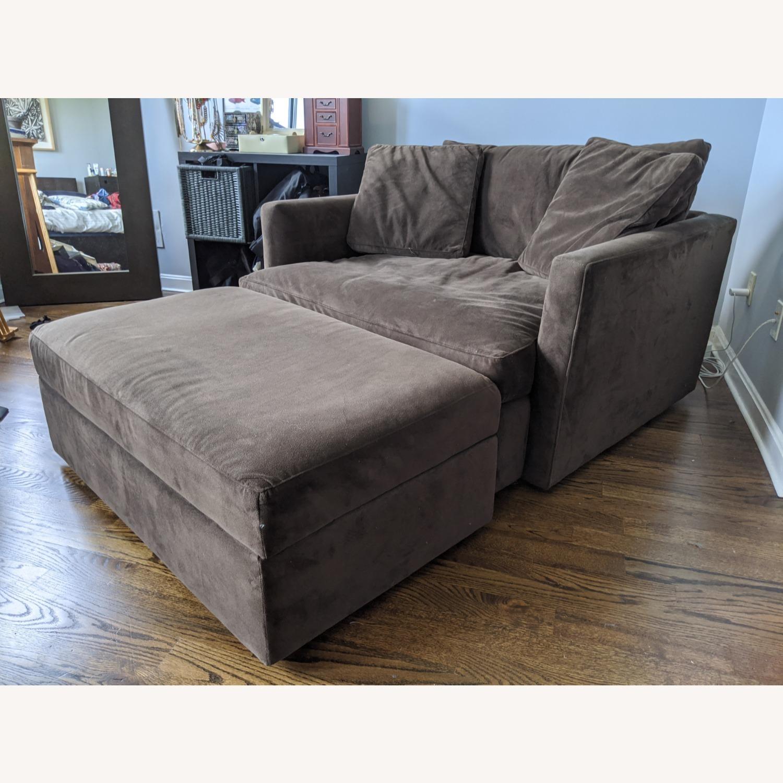 Crate & Barrel Lounge Chair & a Half plus Ottoman - image-1