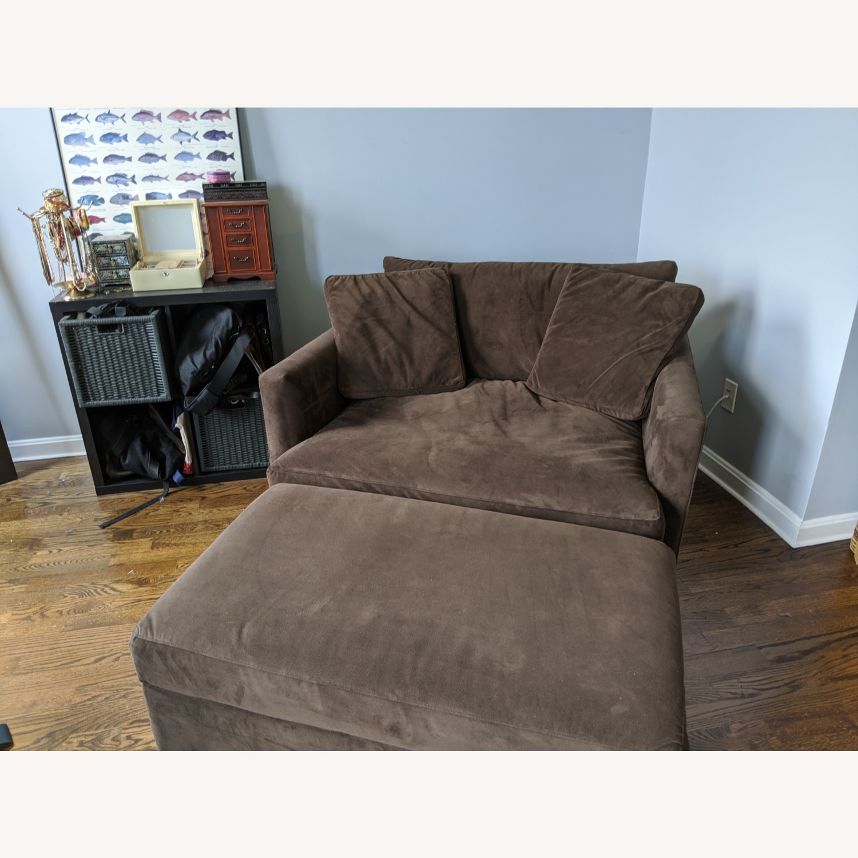 Crate & Barrel Lounge Chair & a Half plus Ottoman - image-2