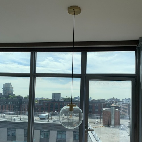 Used Aura Pendant Ceiling Lamp + 6 Edison Lightbulbs for sale on AptDeco