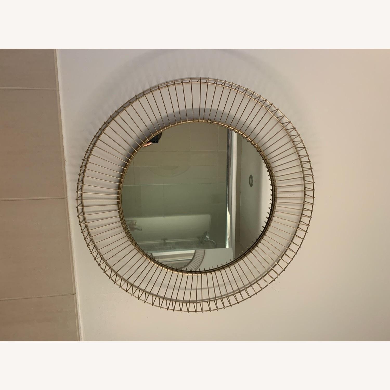 Rivet Modern Round Gold Mirror - image-1