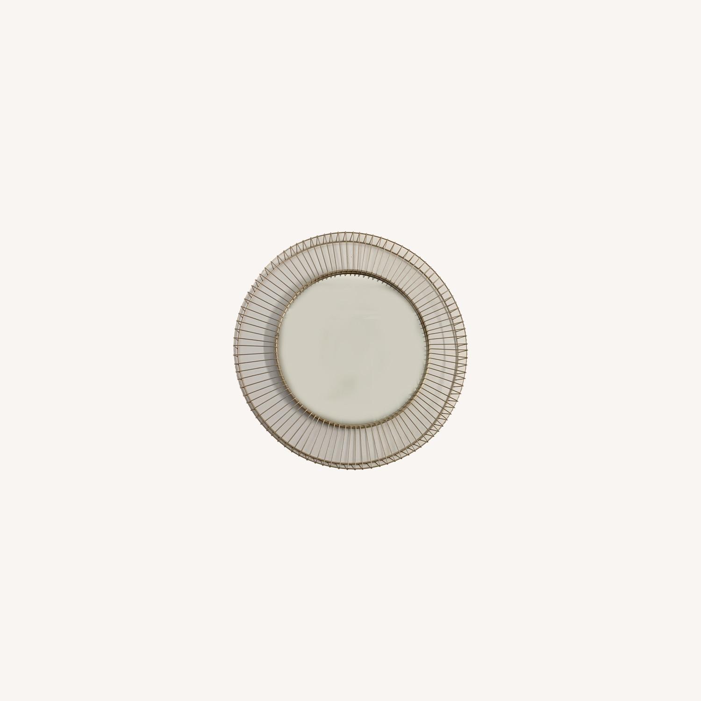 Rivet Modern Round Gold Mirror - image-0