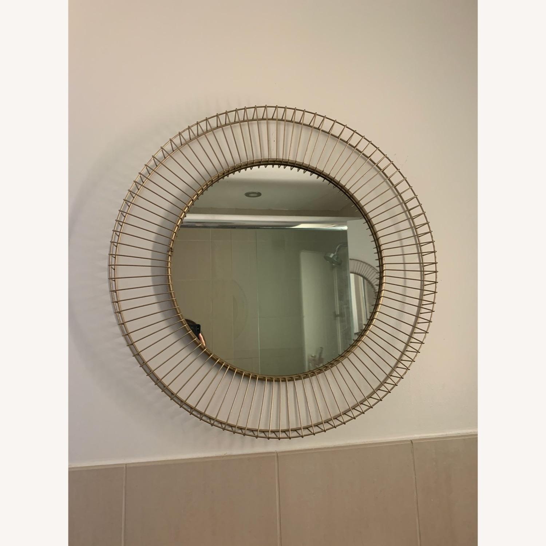 Rivet Modern Round Gold Mirror - image-4