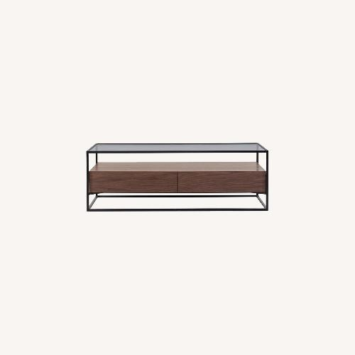 Used Urban Outfitters Glass and Wooden Coffee Table for sale on AptDeco