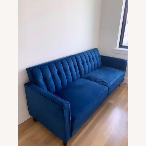 Used AllModern Wallace Blue Velvet Convertible Sofa for sale on AptDeco