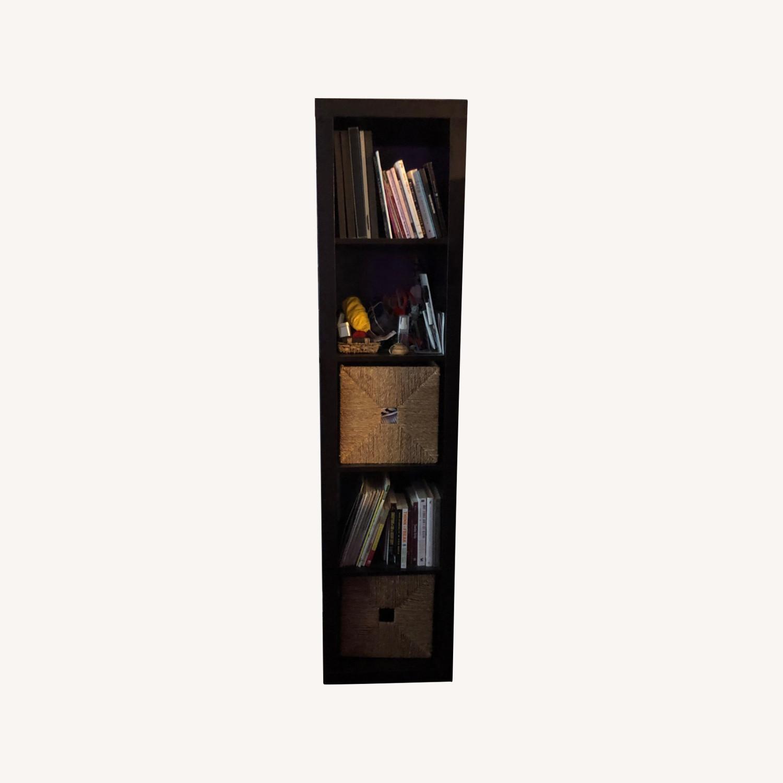 Tall Black Bookshelf with Room for Storage Bins - image-0