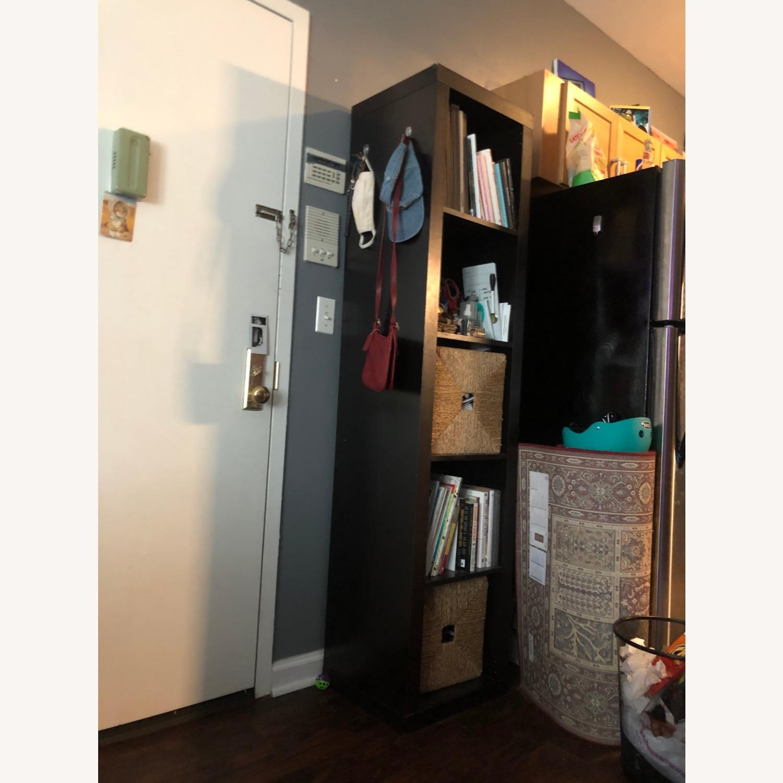 Tall Black Bookshelf with Room for Storage Bins - image-1