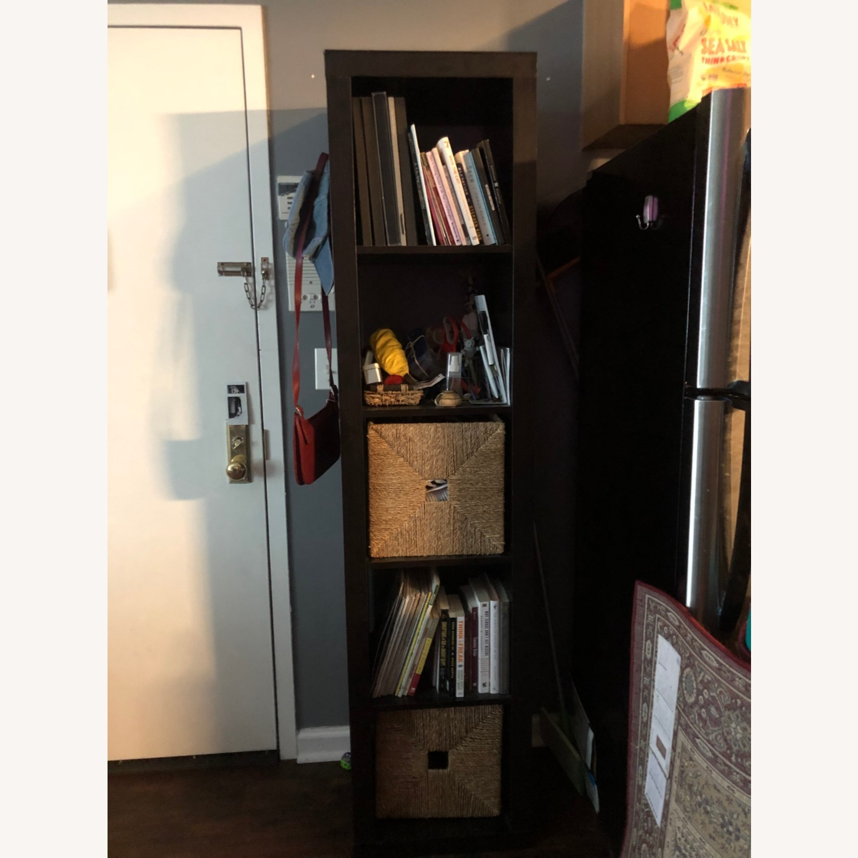 Tall Black Bookshelf with Room for Storage Bins - image-3