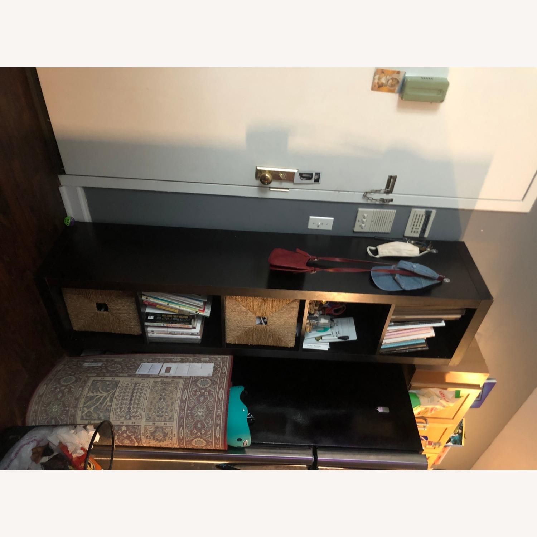 Tall Black Bookshelf with Room for Storage Bins - image-5