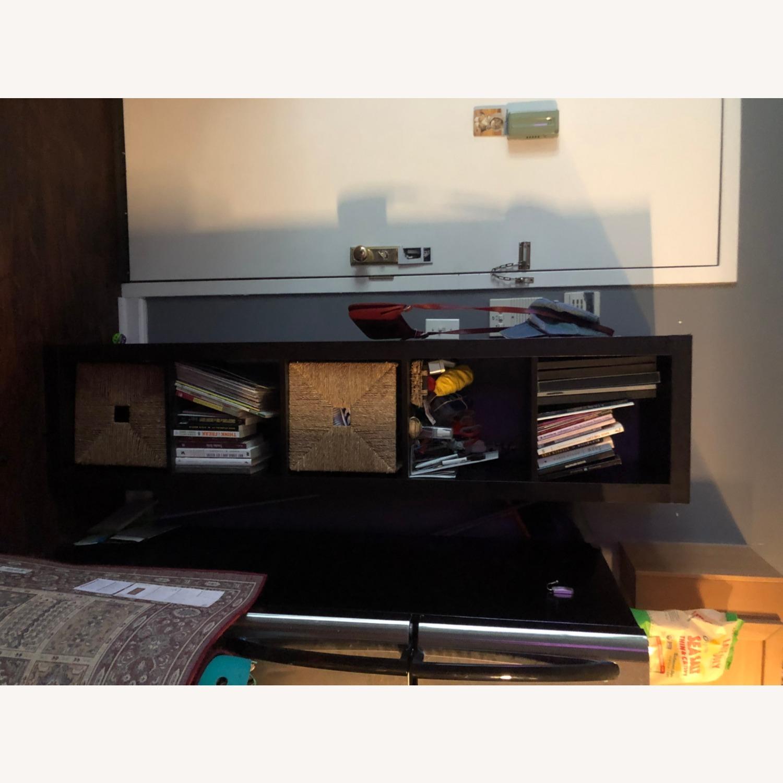 Tall Black Bookshelf with Room for Storage Bins - image-4