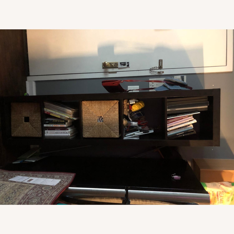 Tall Black Bookshelf with Room for Storage Bins - image-6
