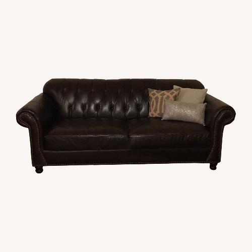 Used ABC Carpet + Home Outlet Brown Leather Couch for sale on AptDeco