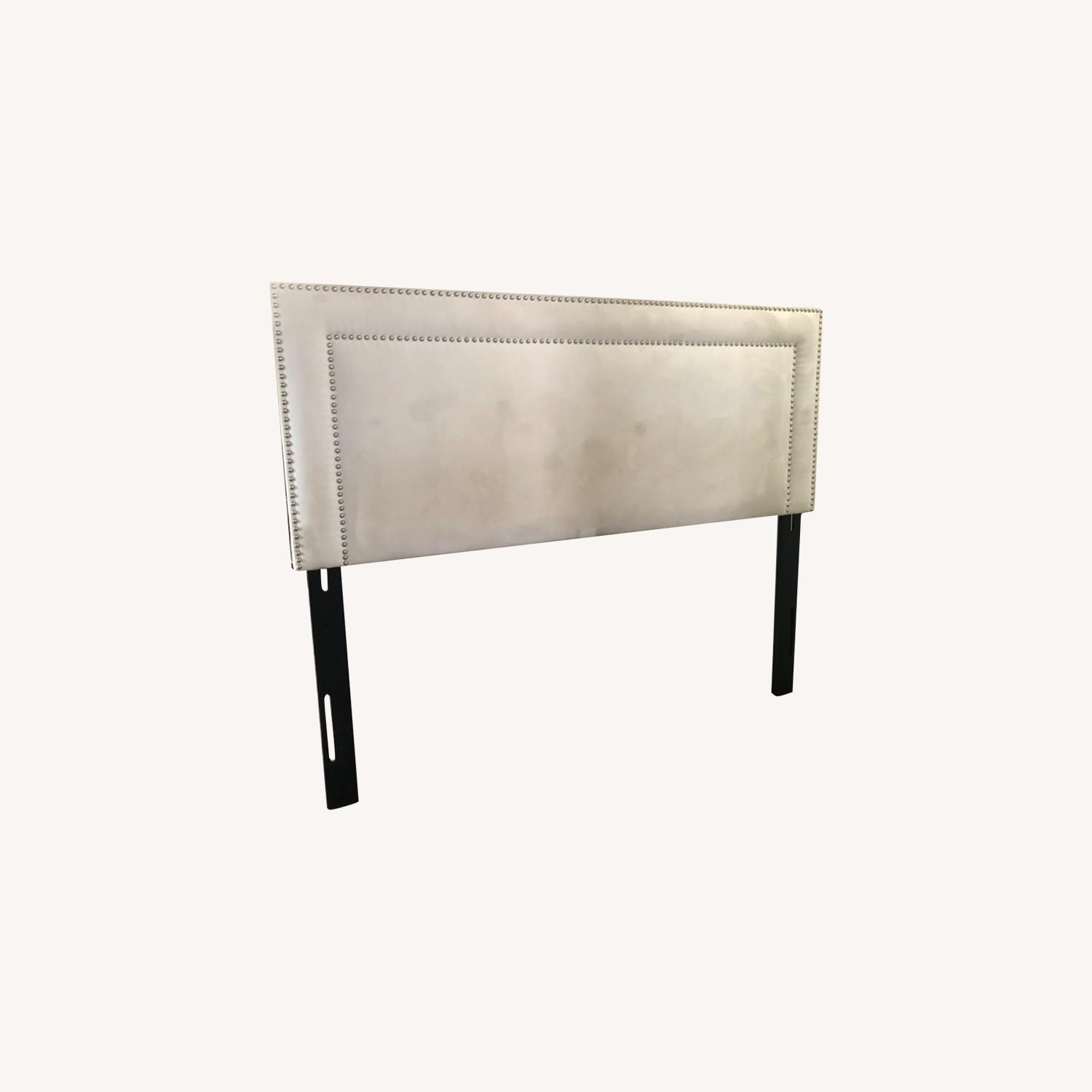 White Microsuede Headboard with Silver Rivets - image-0
