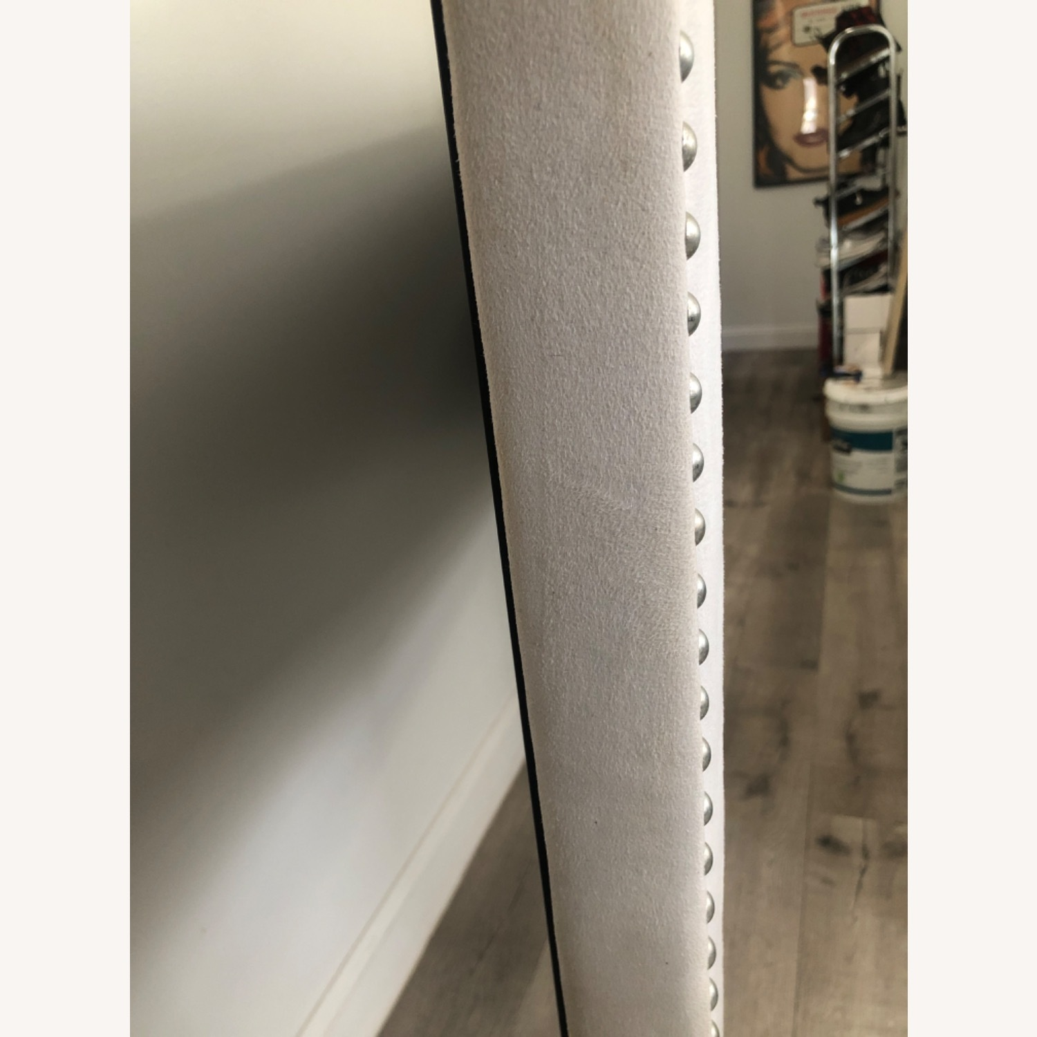White Microsuede Headboard with Silver Rivets - image-2