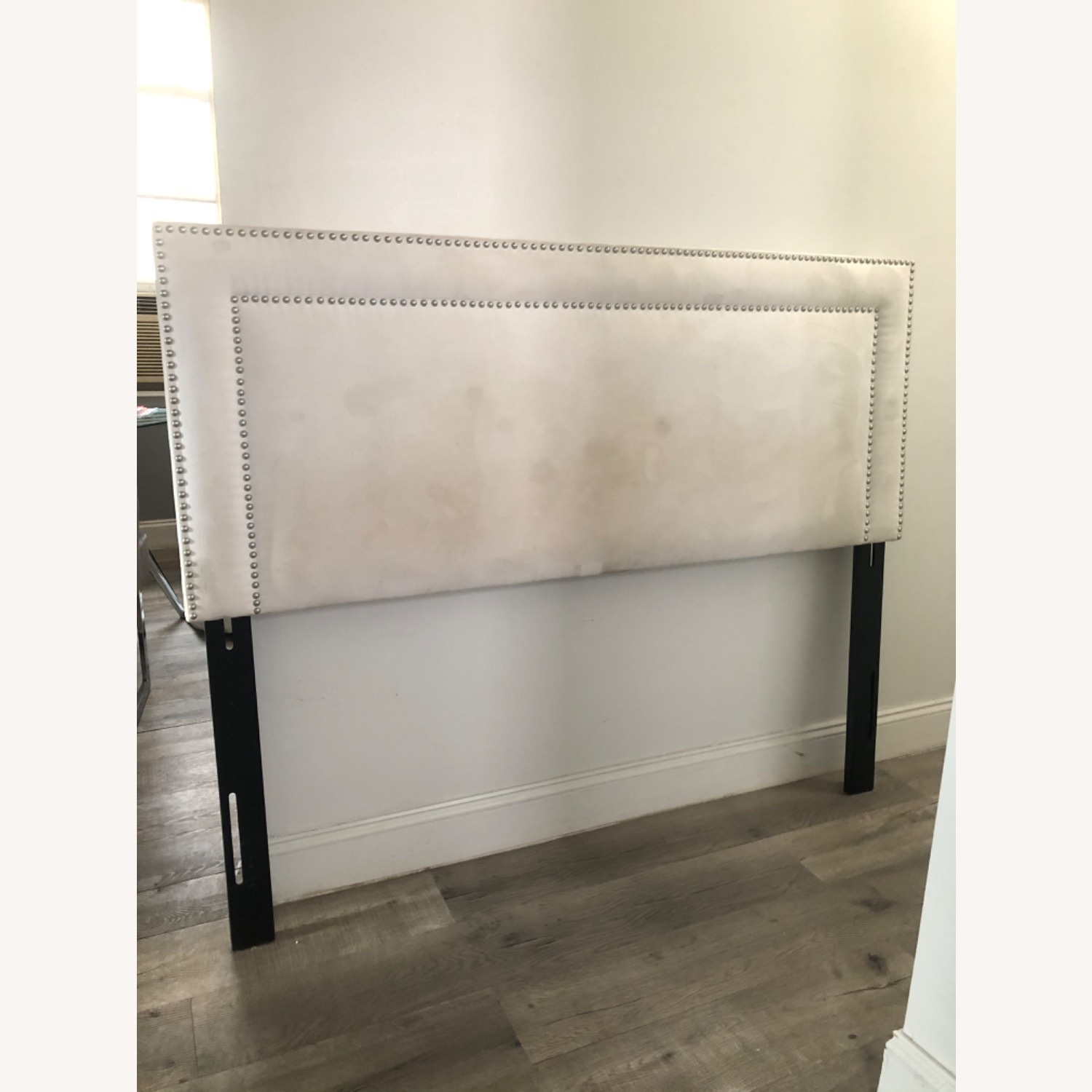 White Microsuede Headboard with Silver Rivets - image-1