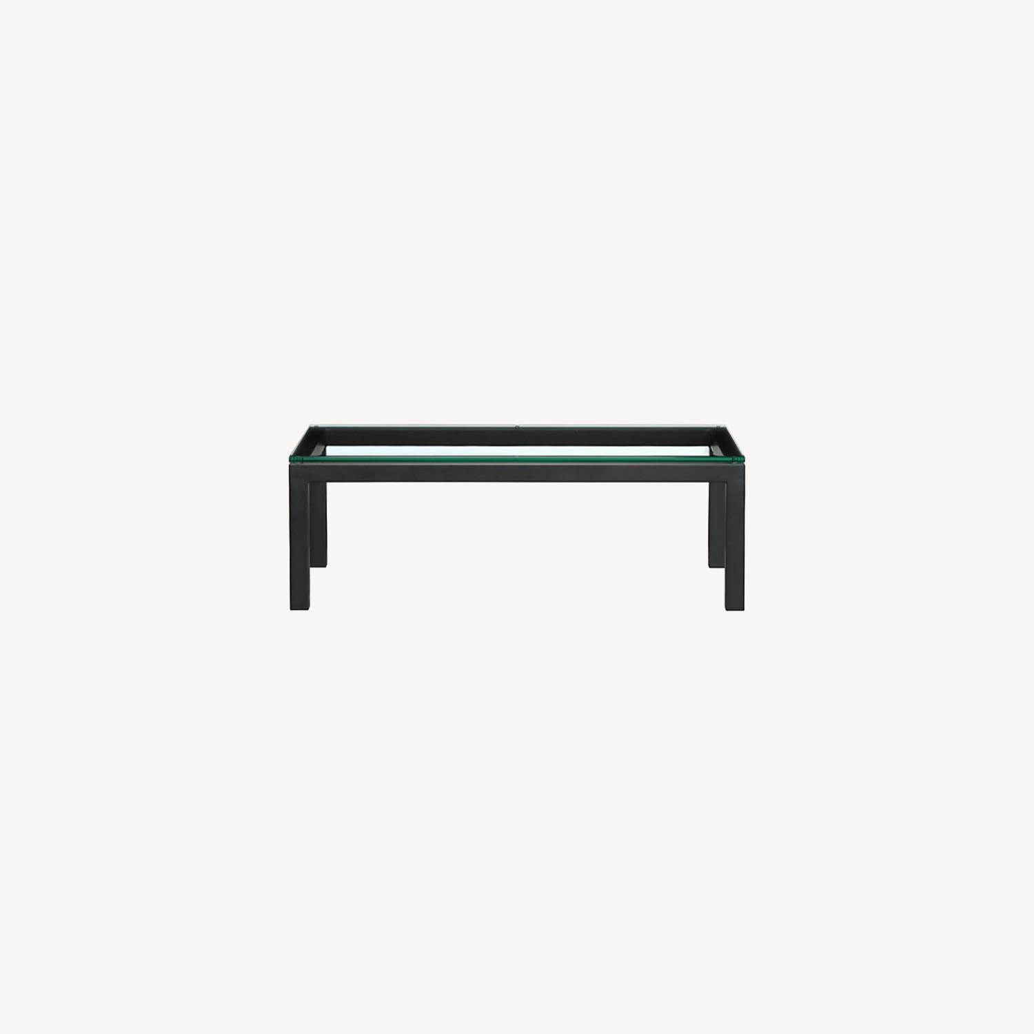 Crate and Barrel Glass Rectangular Coffee Table - image-0