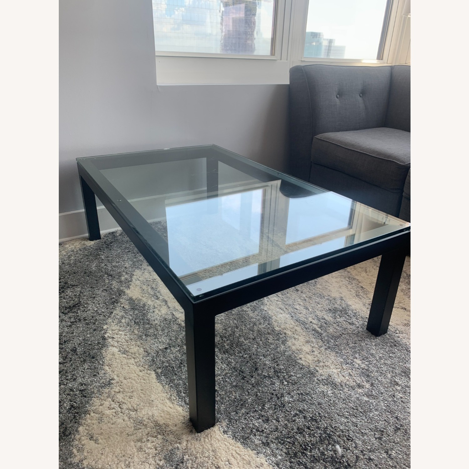 Crate and Barrel Glass Rectangular Coffee Table - image-6