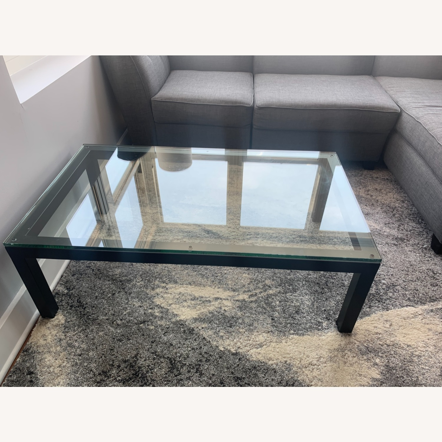 Crate and Barrel Glass Rectangular Coffee Table - image-2