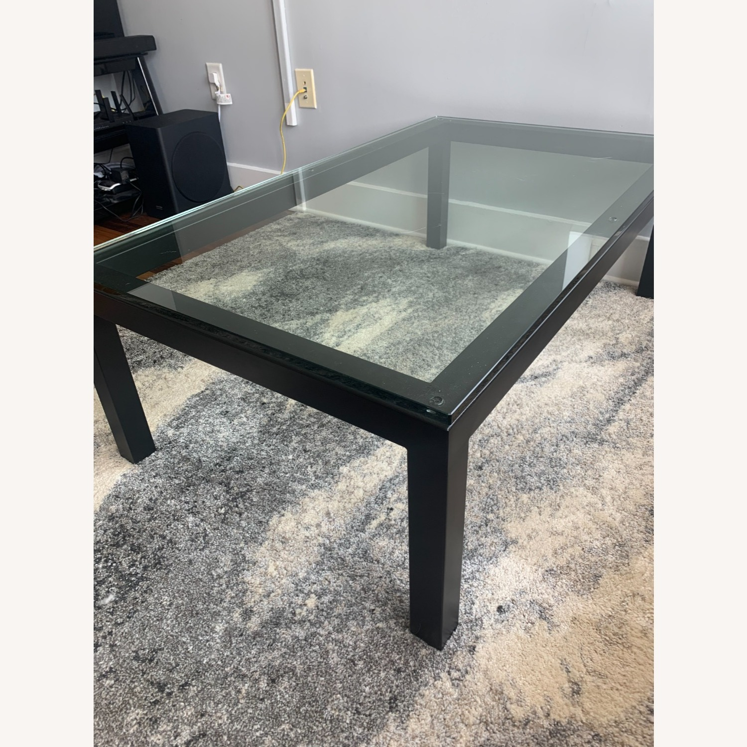 Crate and Barrel Glass Rectangular Coffee Table - image-7