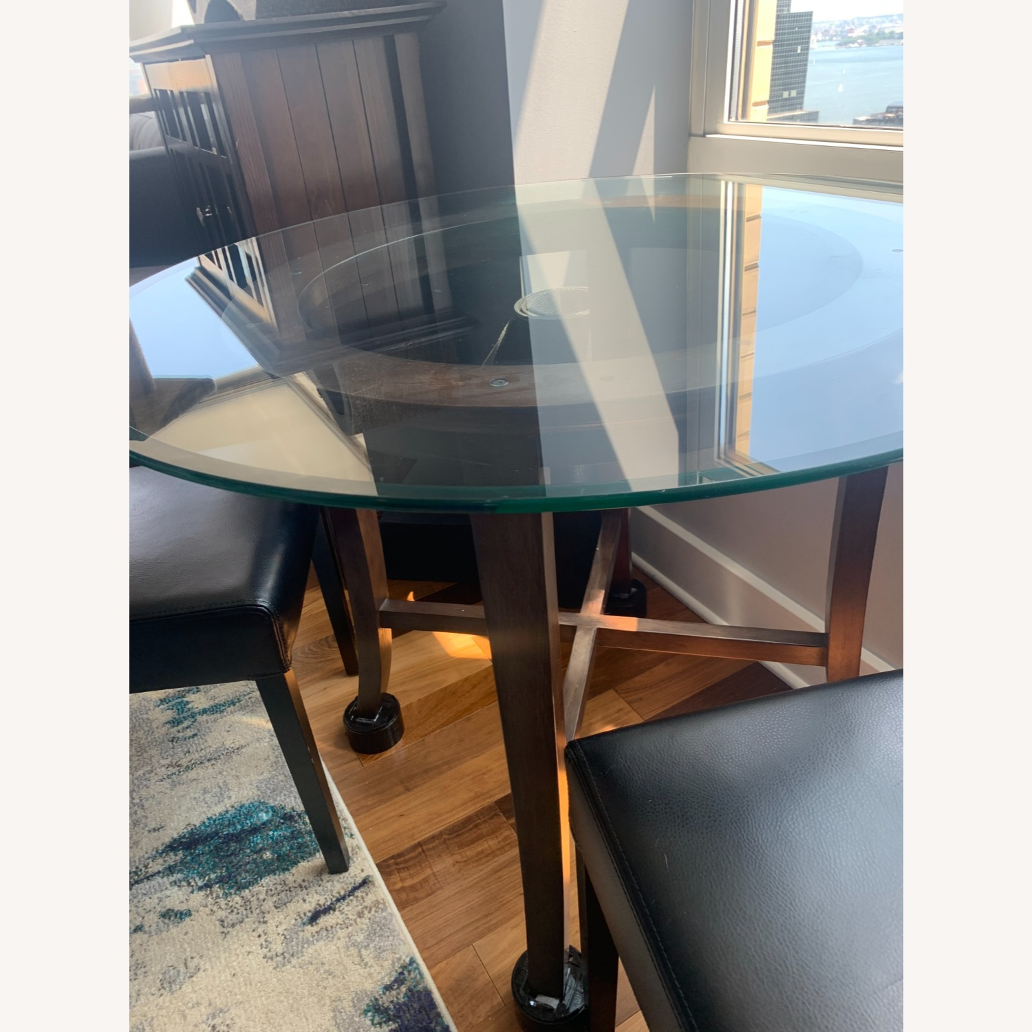 "Crate & Barrel 42"" Round Dining Table with Glass Top - image-4"