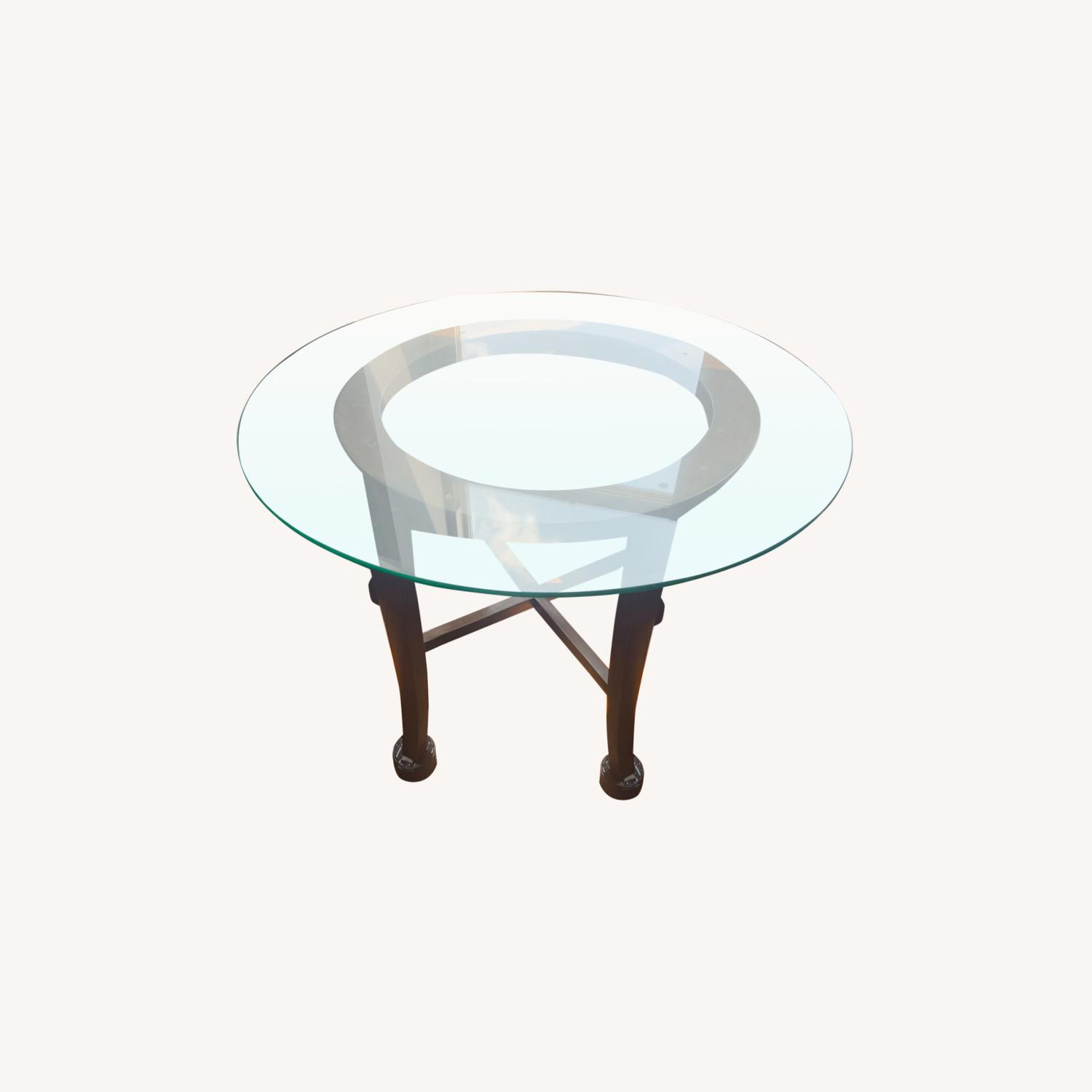 "Crate & Barrel 42"" Round Dining Table with Glass Top - image-0"